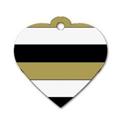 Black Brown Gold White Horizontal Stripes Elegant 8000 Sv Festive Stripe Dog Tag Heart (two Sides) by yoursparklingshop