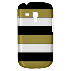 Black Brown Gold White Horizontal Stripes Elegant 8000 Sv Festive Stripe Galaxy S3 Mini by yoursparklingshop