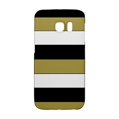 Black Brown Gold White Horizontal Stripes Elegant 8000 Sv Festive Stripe Galaxy S6 Edge by yoursparklingshop