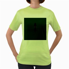 Black Octopus Women s Green T Shirt by AnjaniArt
