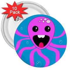 Bubble Octopus 3  Buttons (10 Pack)  by AnjaniArt