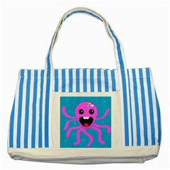 Bubble Octopus Striped Blue Tote Bag by AnjaniArt