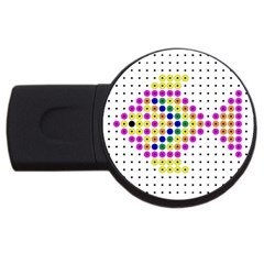 Colored Fish Usb Flash Drive Round (2 Gb)  by AnjaniArt