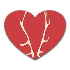 Deer Antlers Heart Mousepads