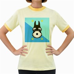 Face Dog Women s Fitted Ringer T Shirts by AnjaniArt