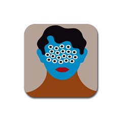 Face Eye Human Rubber Coaster (square)  by AnjaniArt