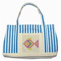 Fish Cute Striped Blue Tote Bag by AnjaniArt