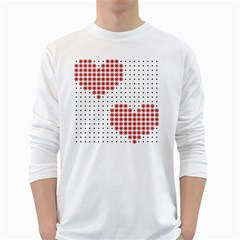 Heart Love Valentine Day Pink White Long Sleeve T Shirts by AnjaniArt