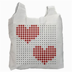 Heart Love Valentine Day Pink Recycle Bag (one Side) by AnjaniArt