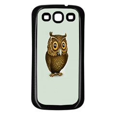 Owl Samsung Galaxy S3 Back Case (black) by AnjaniArt