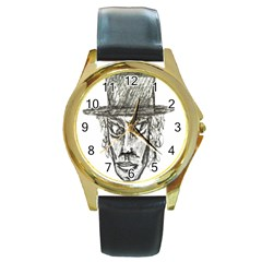 Man With Hat Head Pencil Drawing Illustration Round Gold Metal Watch by dflcprints