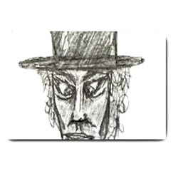 Man With Hat Head Pencil Drawing Illustration Large Doormat  by dflcprints