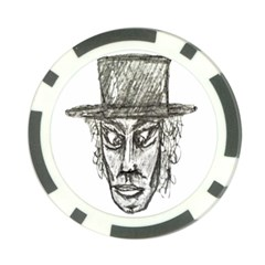 Man With Hat Head Pencil Drawing Illustration Poker Chip Card Guards by dflcprints