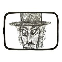 Man With Hat Head Pencil Drawing Illustration Netbook Case (medium)  by dflcprints
