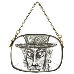 Man With Hat Head Pencil Drawing Illustration Chain Purses (one Side)  by dflcprints