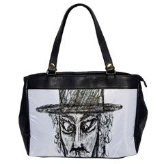 Man With Hat Head Pencil Drawing Illustration Office Handbags by dflcprints