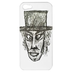 Man With Hat Head Pencil Drawing Illustration Apple Iphone 5 Hardshell Case by dflcprints