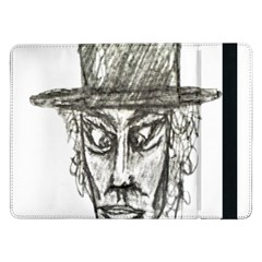 Man With Hat Head Pencil Drawing Illustration Samsung Galaxy Tab Pro 12.2  Flip Case by dflcprints