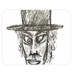 Man With Hat Head Pencil Drawing Illustration Double Sided Flano Blanket (medium)  by dflcprints
