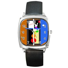 Anarchy  Square Metal Watch by Valentinaart