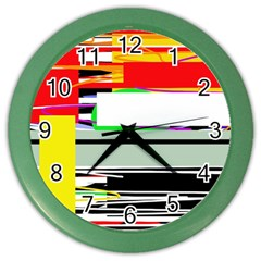 Lines And Squares  Color Wall Clocks by Valentinaart
