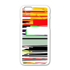 Lines And Squares  Apple Iphone 6/6s White Enamel Case by Valentinaart