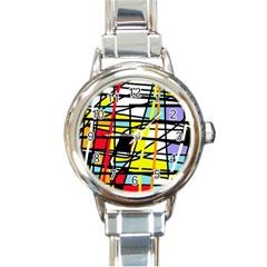 Casual Abstraction Round Italian Charm Watch by Valentinaart