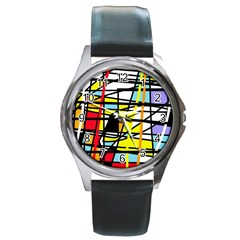 Casual Abstraction Round Metal Watch by Valentinaart