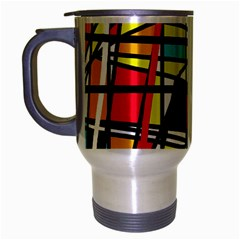 Casual Abstraction Travel Mug (silver Gray) by Valentinaart