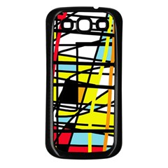 Casual Abstraction Samsung Galaxy S3 Back Case (black) by Valentinaart