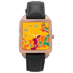 Colorful Creativity Rose Gold Leather Watch  by Valentinaart