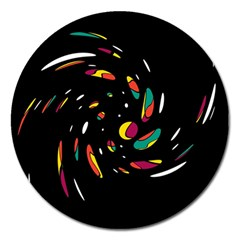 Colorful Twist Magnet 5  (round) by Valentinaart