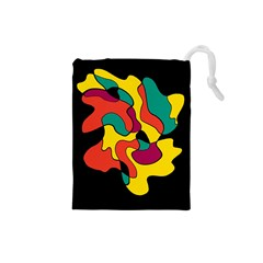 Colorful Spot Drawstring Pouches (small)  by Valentinaart