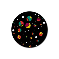 Colorful Dots Rubber Coaster (round)  by Valentinaart