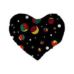 Colorful Dots Standard 16  Premium Flano Heart Shape Cushions by Valentinaart