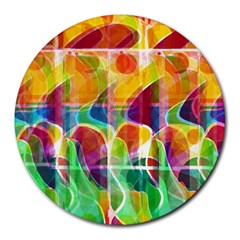 Abstract Sunrise Round Mousepads by Valentinaart