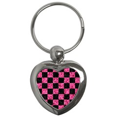 Square1 Black Marble & Pink Marble Key Chain (heart) by trendistuff