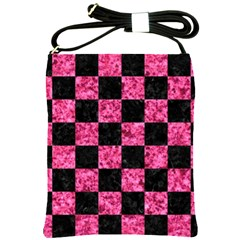Square1 Black Marble & Pink Marble Shoulder Sling Bag by trendistuff