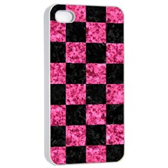 Square1 Black Marble & Pink Marble Apple Iphone 4/4s Seamless Case (white) by trendistuff