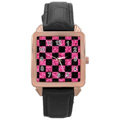 Square1 Black Marble & Pink Marble Rose Gold Leather Watch  by trendistuff