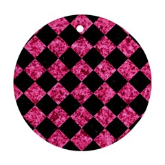 Square2 Black Marble & Pink Marble Ornament (round) by trendistuff