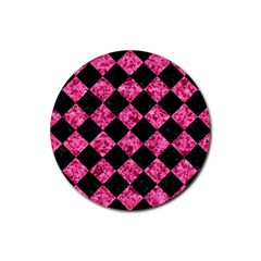 Square2 Black Marble & Pink Marble Rubber Round Coaster (4 Pack) by trendistuff