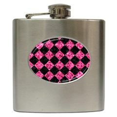 Square2 Black Marble & Pink Marble Hip Flask (6 Oz) by trendistuff