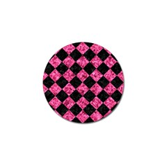 Square2 Black Marble & Pink Marble Golf Ball Marker by trendistuff