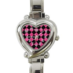 Square2 Black Marble & Pink Marble Heart Italian Charm Watch by trendistuff