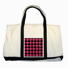 Square2 Black Marble & Pink Marble Two Tone Tote Bag by trendistuff