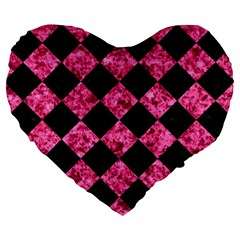 Square2 Black Marble & Pink Marble Large 19  Premium Flano Heart Shape Cushion by trendistuff