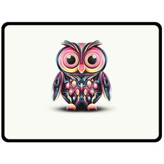 Owl Colorful Fleece Blanket (large)  by AnjaniArt