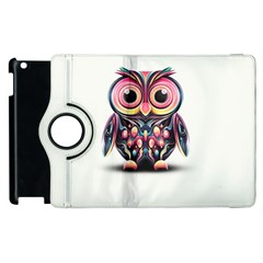 Owl Colorful Apple Ipad 2 Flip 360 Case by AnjaniArt