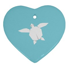 Pet Turtle Paper Origami Heart Ornament (2 Sides) by AnjaniArt